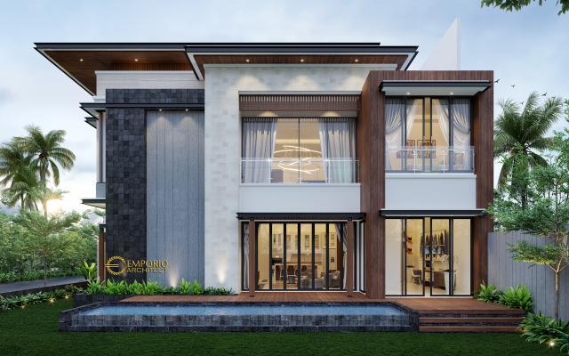 Desain Tampak Samping Rumah Modern 2 Lantai Bapak Bernard di Tangerang, Banten