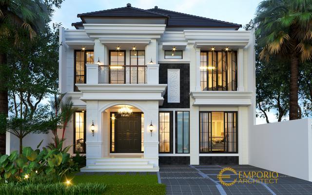 Desain Tampak Depan Rumah Classic 2 Lantai Bapak Yevni di Tangerang, Banten
