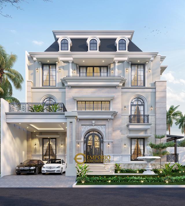 Desain Tampak Depan Rumah Classic 3 Lantai Ibu Susana di Tangerang, Banten