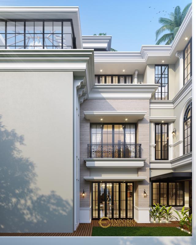 Desain Tampak Belakang 2 Rumah Classic 3 Lantai Ibu Susana di Tangerang, Banten