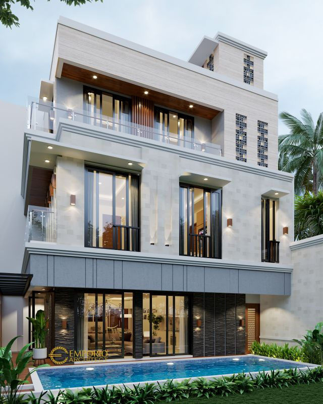 Desain Rumah Modern 3 Lantai Mr. Hr di  Tangerang