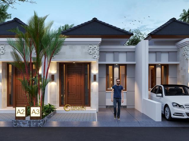 Desain Tipe A 5x12 Depan Perumahan Villa Bali The Wimala by Gemintang Land di Tangerang Selatan, Banten