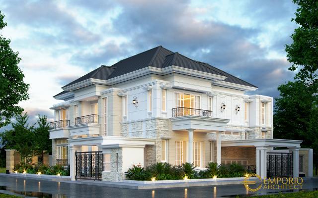 Desain Tampak Depan Rumah Hook Classic 2.5 Lantai Bapak Fajar di Tangerang Selatan, Banten