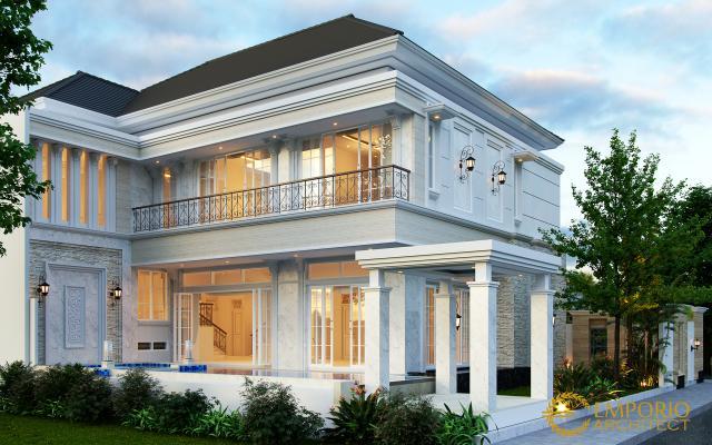 Desain Tampak Belakang Rumah Hook Classic 2.5 Lantai Bapak Fajar di Tangerang Selatan, Banten