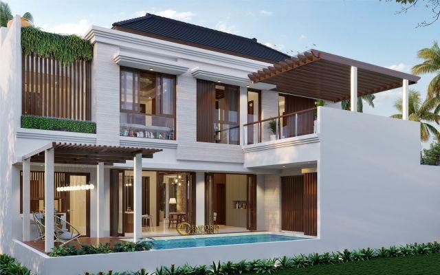 Desain Rumah Hook Villa Bali 2 Lantai Ibu Verawaty di  Tangerang Selatan, Banten